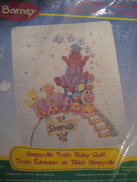 Cross Stitch Baby Quilt KIT Barney Sleepyville Train 34 x 43