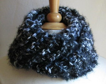 Black White and Grey Cowl Scarf Think and Plush