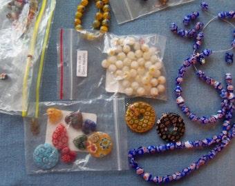Millefiori Glass Beads - almost one half pound
