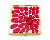 Square Compact Mirror Hand Painted Enamel Red and White Blossom Inspired Embellished with Red Jewel Custom Colors and Personalized Options