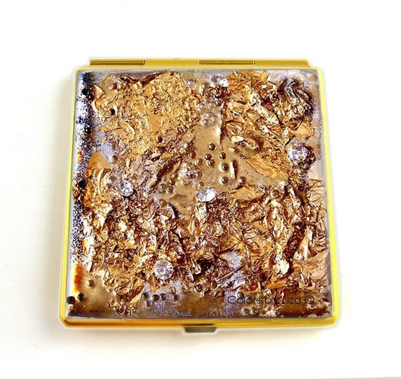 Square Compact Mirror Gold Leaf Nugget Pocket Mirror Embellished with Swarovski and Glass Beads Custom Colors and Personalized Options