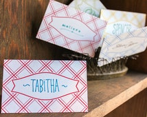 Letterpress place cards  -  Picnic Plaid,  red, blue, yellow, green (set of 10) / SALE!!