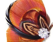 Peacock Feather Hair Clip in Sunset Orange with Pheasant Feathers and Rhinestone Wedding Party Hair Fascinator Clip