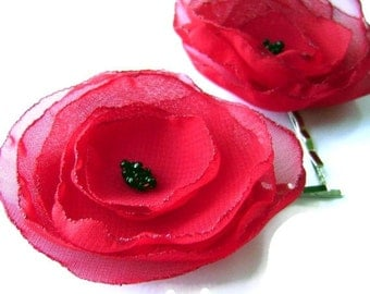 Red Poppies Organza Chiffon Flower Bobby Pin Set