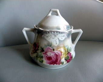 Mid-Century Sugar Bowl with Lid Made in Germany Hand-Painted Floral Design
