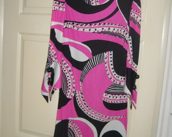 "1960's Vintage ""Pucci"" Style Print Sheath Dress Made in Italy Couture Quality Kint Dress"