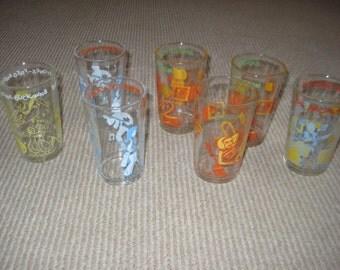 Vintage Archie/Sabrina/Flintsones Jelly Jar Glasses Set of Seven (7)