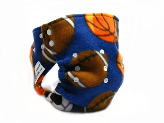 Diaper Cover, OS, Fleece - Sports, football, basketball, soccer, blue