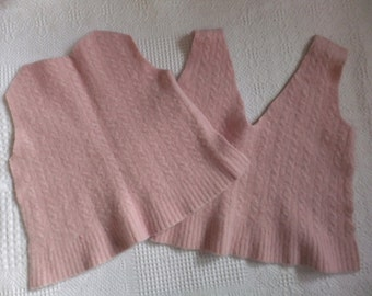 Felted Lambswool Blend Sweater Remnants Pale Pink Cable Fabric Material
