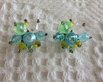 Vintage Earrings Clip On Pastel Bead Blue Green Pink Yellow Stamped Hong Kong Costume Jewelry