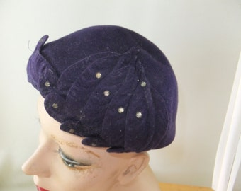 Vintage Merrimac Hat Corp Purple Wool Beret Size 23 with Faux Stones Formal Wedding Prom Retro
