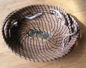 Coiled pine needle bowl or basket with driftwood and ceramic base