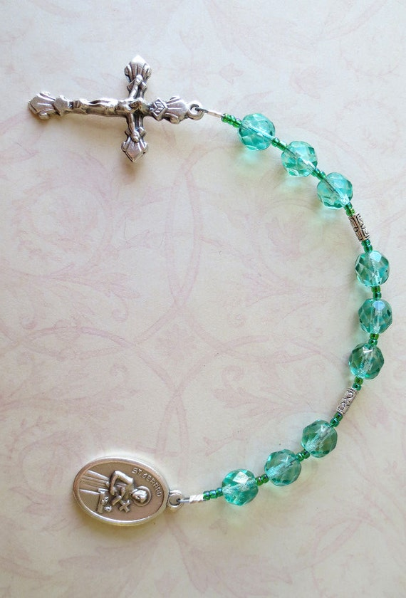St. Gerard Chaplet in Blue Zircon (Blue Green) Glass - for safe pregnancy and delivery
