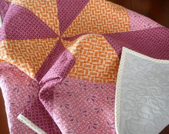Hope Valley Fabric, Big Star a Quilt by Denyse Schmidt, Handmade Baby Gift Ohio Star Block Oversized, Flowers, Pink, Purple and Orange