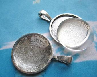 5pcs 27mm tibetan silver round cameo/cabochon base setting plus 5pcs matching clear crystal glass cabochon pendant