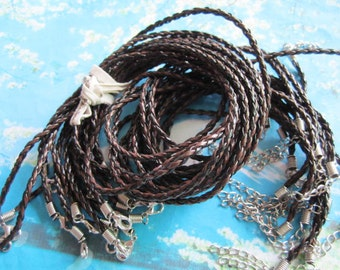 Promotion sale 15pcs 17-19 inch adjustable 3mm black braided brown faux leather braided necklace cords