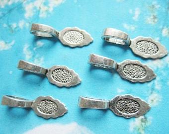 new 100pcs tibetan silver 26x9mm glue on pad bails