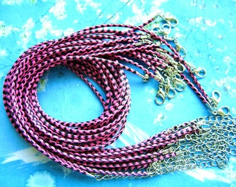 15pcs 1.5mm 16-18 inch adjustable hot pink with black korea wax string snake necklace cords lobster clasps included
