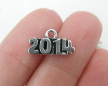 6 2014 charms 15 x 8.5mm antique silver tone
