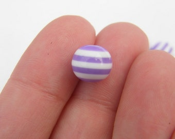100 Purple and white striped resin beads B102