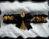 Black Satin Wedding Garter Made with New Orleans Saints Fabric