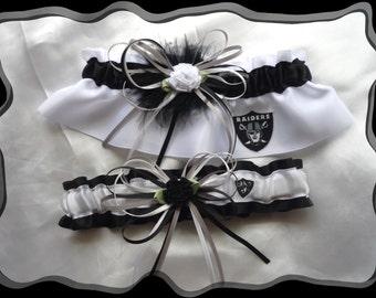 White Satin Combo Ribbons Wedding Garter Set Made w Raiders Fabric BB