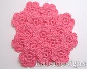 "Dark Pink 7/8"" Crochet 6-Petal Flower Embellishments Handmade Applique Scrapbooking Fashion Accessories - 16 pcs. (4300-01)"