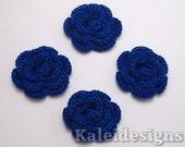 "Royal Blue 1-1/4"" Crochet Rose Flower Embellishments Handmade Applique Scrapbooking Fashion Accessories - 4 pcs. (3520-01)"