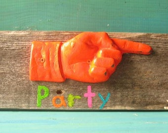 Rustic Wood  with Cast Iron Hand Pointing Party Sign