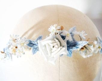Blue millinery flower velvet and pearl headband/wedding crown - Blue Danube