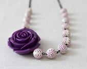 Polka Dot Necklace, Purple Flower Necklace, Amethyst Flower Pendant, Statement Jewelry, Garden Botanical