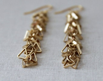 Triangle Earrings, Geometric Earrings, Gold Geometric Earrings, Dangle Earrings, Modern Fashion, Tria