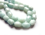 Amazonite tumbled faceted barrel beads - Pair