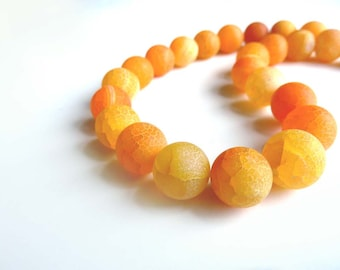 Orange Frosted Agate beads - 12mm Pair