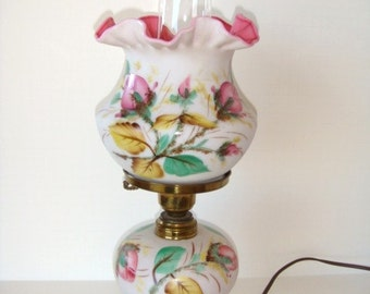 Fenton Moss Rose Peach Blow Lamp Electric Table Lamp Double Crimped Shade