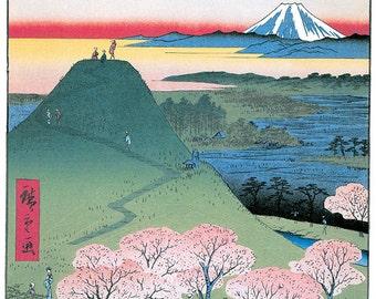 Hand-cut wooden jigsaw puzzle. MEGURO FUJI JAPAN. Hiroshige. Japanese woodblock print. Wood, collectible. Bella Puzzles.