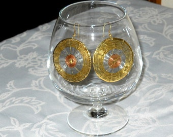 Vintage Spiral Wire Earrings Copper Gold Silver