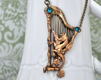 THE ANCIENT TIMES antiqued brass harp and Pegasus with Swarovski zircon color rhinestones