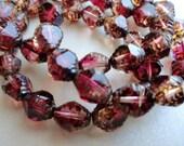 Premium Czech Glass Beads - Carved Bicone Beads - Fuschia Picasso