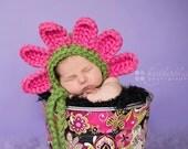 Baby girl bonnet, flower hat, crochet flower, photo prop, baby shower gift, crochet newborn hat, crochet hat, pink petal,flower nursery