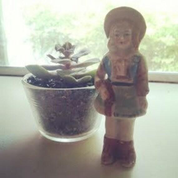 Vintage Cowgirl Miniature Figurine
