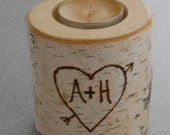 Birch Rustic Tea Light Candle holder Personalized Valentines Day Wedding