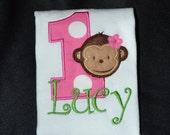 1st Birthday Shirt  First birthday Mod monkey Girl theme  Personalized Number 1 shirt