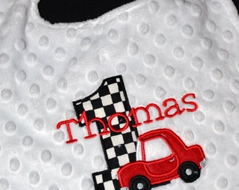 1st Birthday Party Red car checkered flag racing  Birthday Party Bib