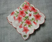 Vintage Handkerchief Four Corner Pink Wildflowers Scalloped Edge New with Tag