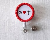 Peace Love Medicine - ID Badge Holder - Badge Reel - Name Tag Badge, Nurse ID Badge Clip, handmade by JeJeweled