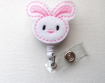Bunny - Felt Badge Holder - Retractable ID Badge Reel - Name Tag Badge Holder - Nurse Badge Holder - Teacher Badge Reel