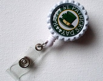 St. Patrick Day Hat - Retractable Badge Reel - Name Badge Holder - Nurse ID Badge Clip - Nursing Badge Reel - Nurses Badge Holder