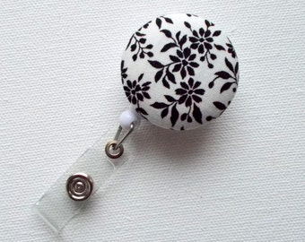 Black Floral - Retractable ID Badge Holder - Name Badge Holder - Flower Badge Reel - Nurse Badge Holder - Teacher ID Badge Reel