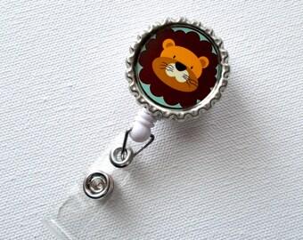 Lion - Retractable Nursing Badge Reels - Nurses Badge Holder - Animal ID Badge Reel - Nurse - Preschool Teacher Badge